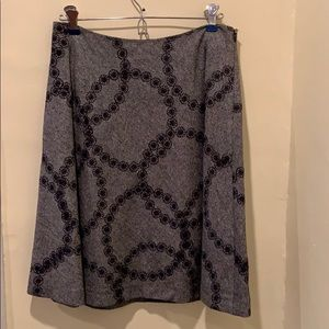 Boden knee length embroidered tweed skirt